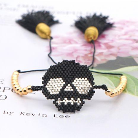 fashion gold beads tassel punk style rice beads handmade skull beaded bracelet NHGW249697's discount tags