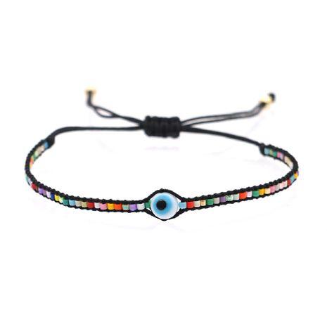 Pulsera de estilo étnico de ojos de acrílico tejido con cuentas de arroz de moda para mujer NHGW249700's discount tags