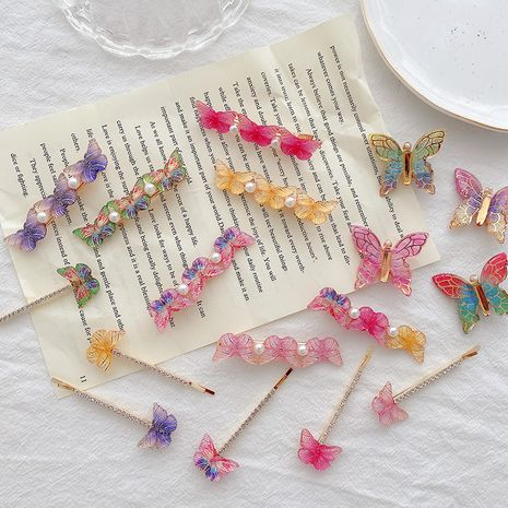 Retro color butterfly hairpin fairy bangs clip rhinestone one-word clip hairpin wholesale NHCQ249751's discount tags