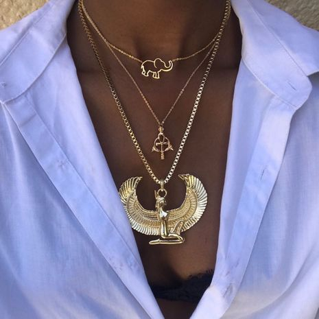 Fashion Egyptian queen angel elephant multi-layer alloy necklace combination set for women NHAJ249797's discount tags