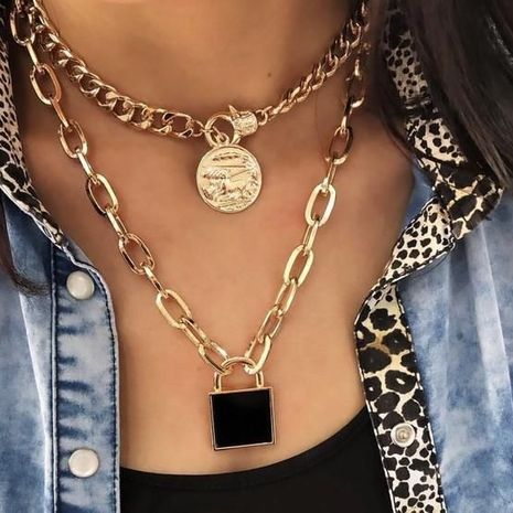 fashion trend lock disc women's new handmade alloy pendant wholesale NHAJ249801's discount tags