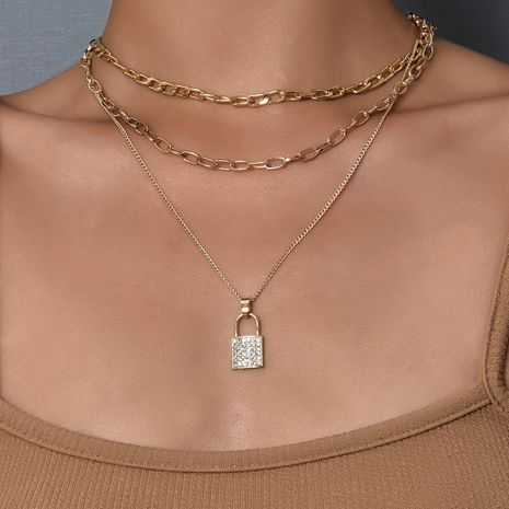Moda de Corea nuevo lleno de collar de aleación de bloqueo de diamantes NHAJ249808's discount tags