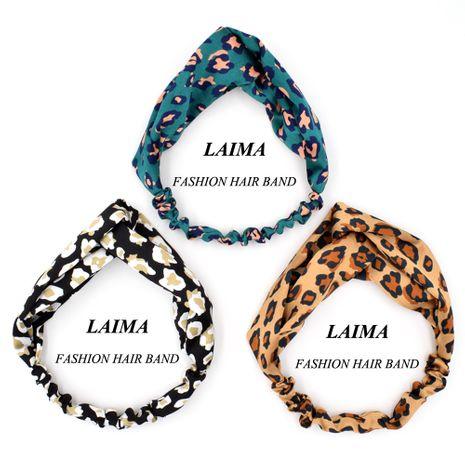 New leopard print goddess cross fabric satin sports yoga headwear headband NHCL249858's discount tags