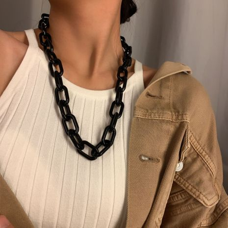 Fashion punk hip-hop clavicle chain all-match chain acrylic necklace for women NHXR249883's discount tags