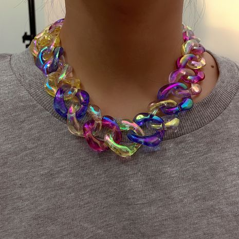fashion  new hot-saling magic color clavicle retro simple acrylic necklace NHXR249886's discount tags