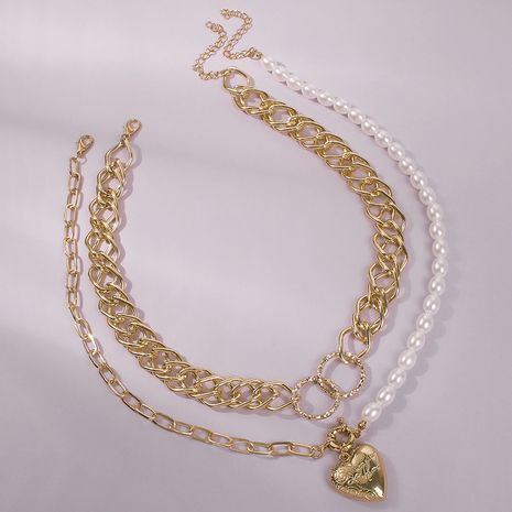alloy chain love pearl pendant clavicle chain wholesale NHMD249959's discount tags