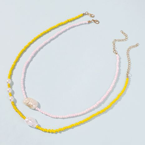 rice bead double layer clavicle chain pearl alloy short necklace wholesale NHMD249958's discount tags