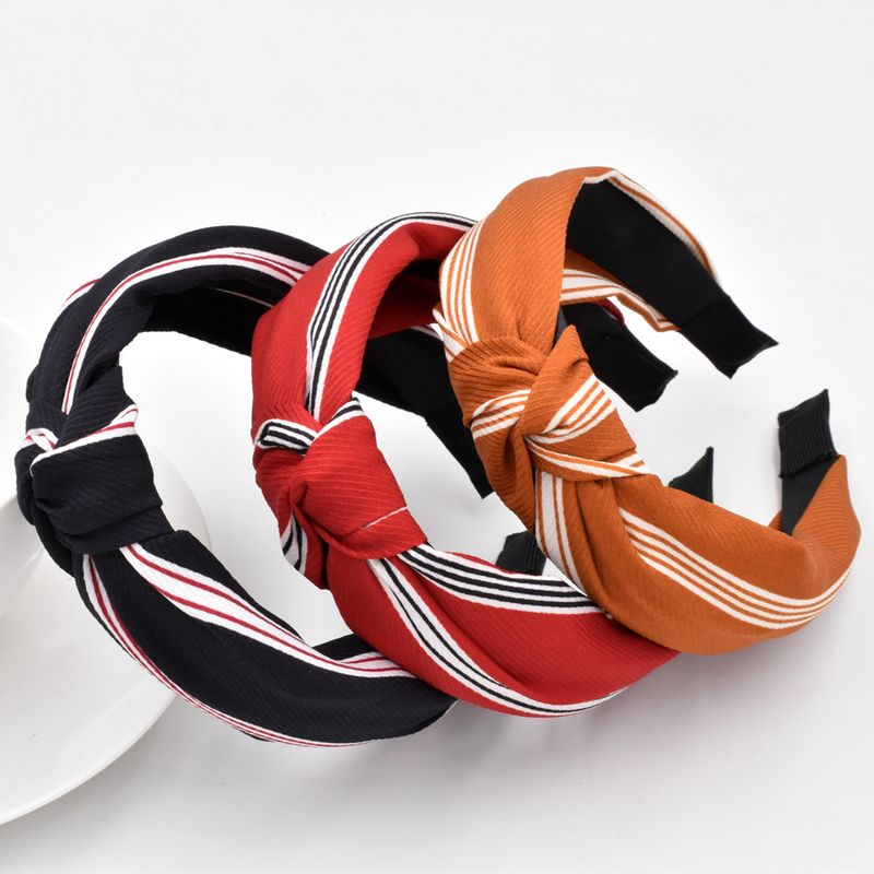 New classic color matching striped hair fabric side head buckle retro headband wholesale NHCL249835