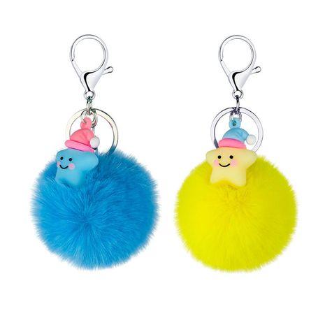 New creative cartoon PVC soft rubber little star fur ball keychain  wholesale NHAP249975's discount tags