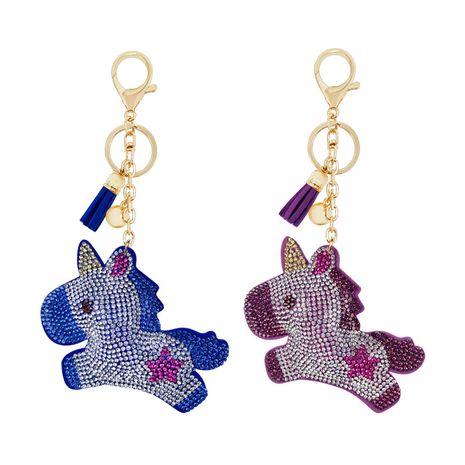 Coréen nouveau dessin animé mignon poney velours diamant chaud licorne gland porte-clés en gros NHAP249976's discount tags
