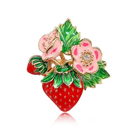 New popular painted drip enamel fruit strawberry brooch all-match brooches wholesale NHAP249982's discount tags