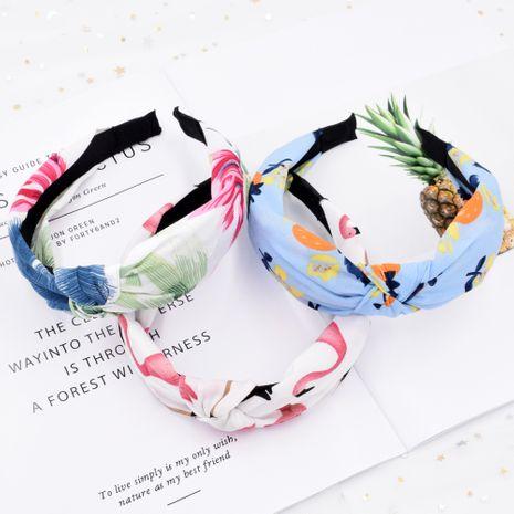Tela de flamencos tropicales de ala ancha planta de frutas creativas diadema con nudos cruzados al por mayor NHCL249990's discount tags