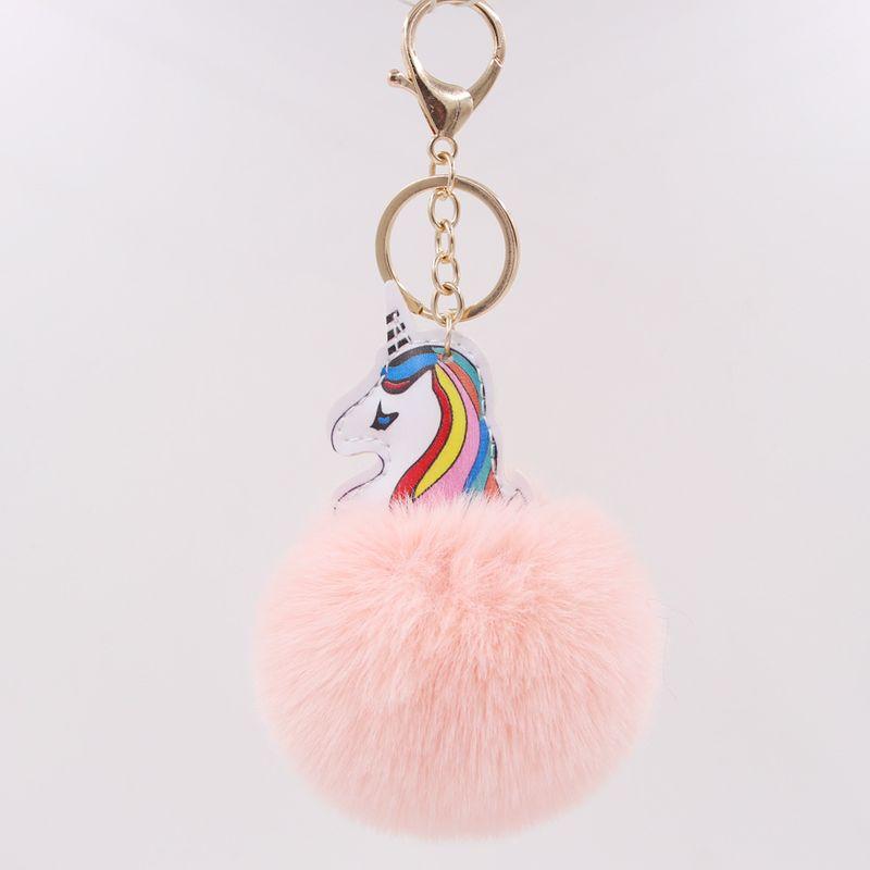 Color unicorn fur ball  PU plush bag key chain pendant wholesale  NHCL250000