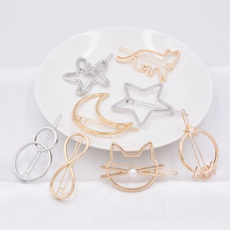 hot sale geometric metal hairpin side clip ponytail triangle circle cat hairpin wholesale NHCL250005's discount tags