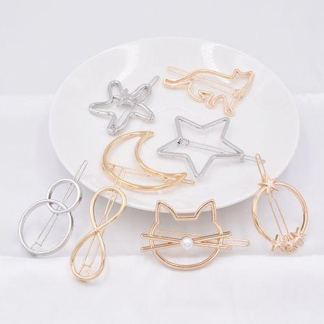 Venta caliente de metal geométrico horquilla clip lateral cola de caballo triángulo círculo gato horquilla al por mayor NHCL250005's discount tags