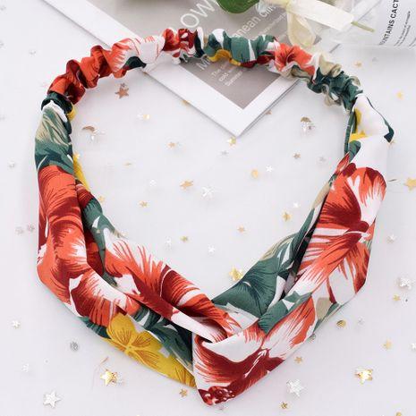 Planta tropical flor cuatro estaciones tela cruzada accesorios para el cabello elásticos al por mayor NHCL250010's discount tags