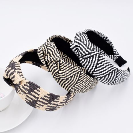 new raffia woven fabric wide-brimmed headband knotted hair accessories wholesale NHCL250018's discount tags