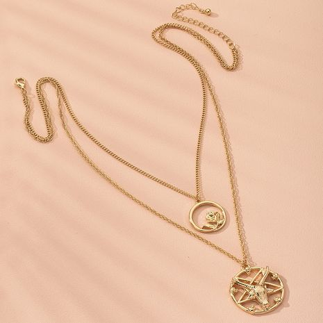 exaggerated bull head star plate women's double necklace  bone chain  wholesale NHAI250026's discount tags