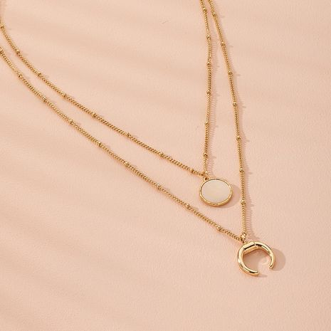 fashion  double layer women's necklace shell disc clavicle chain wholesale NHAI250029's discount tags