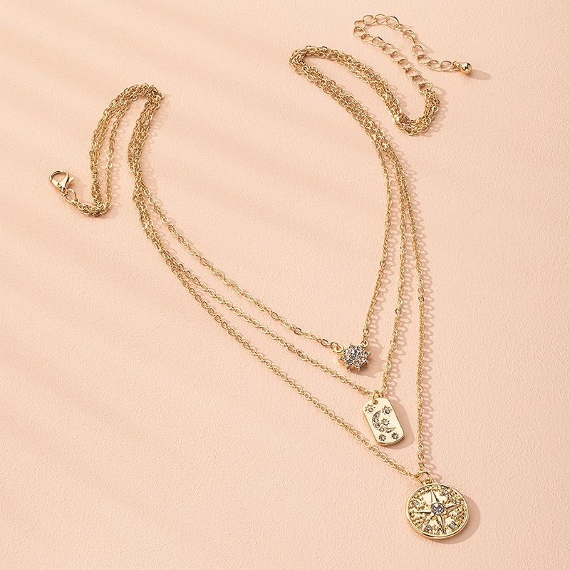 hot selling    bohemian multi-layer moon six-pointed star necklace for ladies   NHAI250030