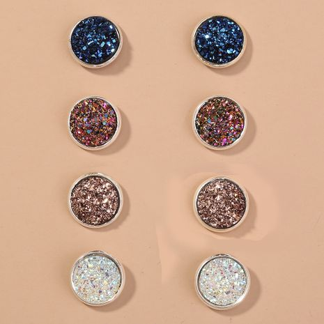 Korea resin simple wild niche round colorful crystal cluster 4 sets of earrings NHAN250040's discount tags