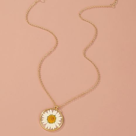 Fashion  daisy resin dried flower women's  necklace wholesale NHAN250045's discount tags