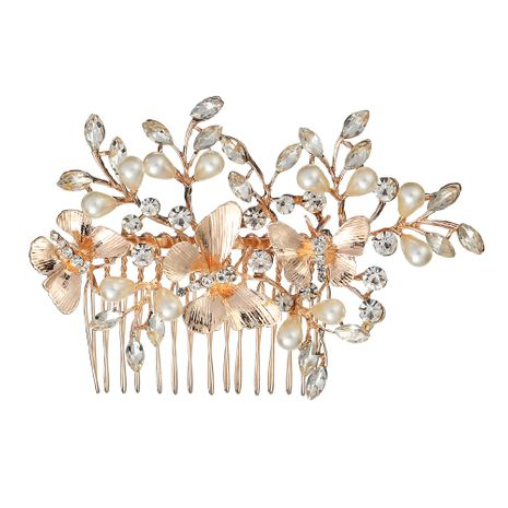 Korean alloy hair comb insert comb butterfly pearl inlaid diamond bridal wedding headdress wholesale NHHS250056's discount tags