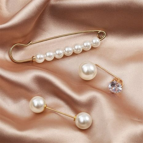 Moda simple conjunto de broches de perlas al por mayor NHLA250065's discount tags