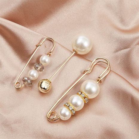 Simple long one-word pearl brooch set wholesale  NHLA250067's discount tags
