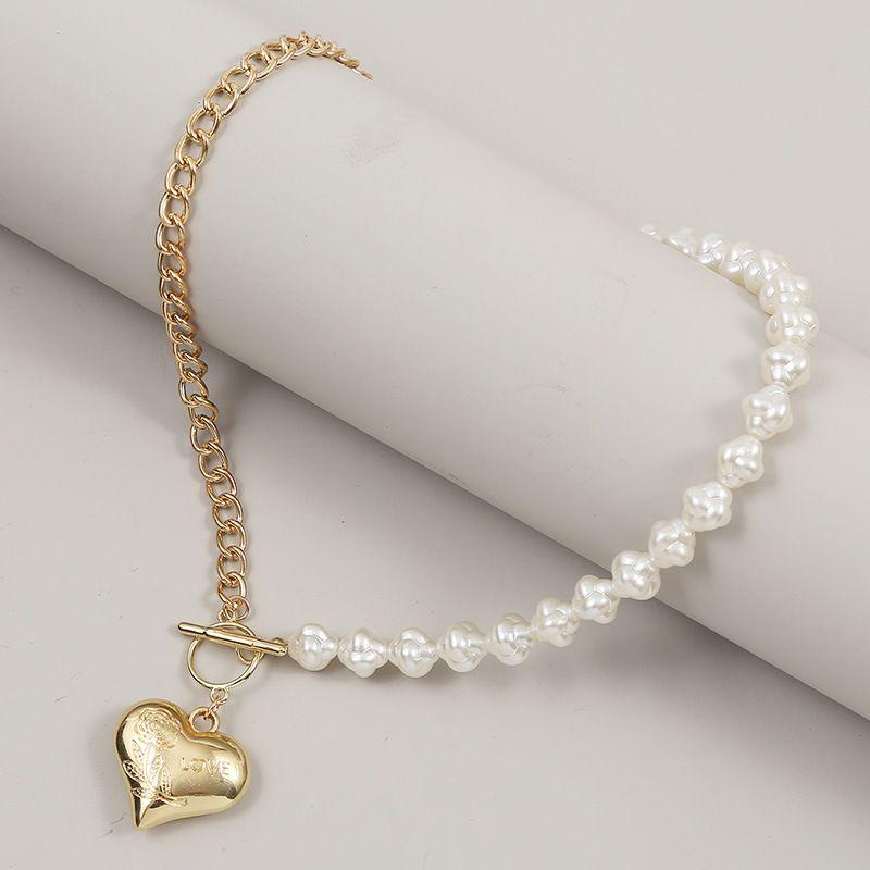 long asymmetric Heart Pearl  punk style  women's fashion necklace  NHLA250068