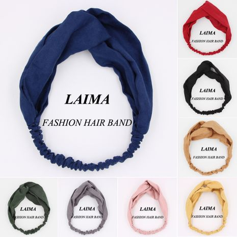 solid color cloth cross hair band Korean simple headband  wholesale  NHCL250080's discount tags