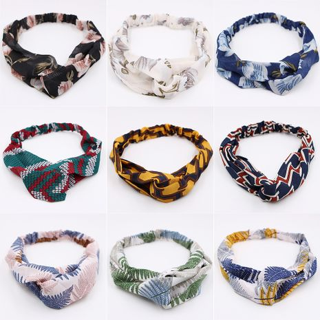 Floral chiffon elastic cross fabric wash hair band wholesale NHCL250079's discount tags