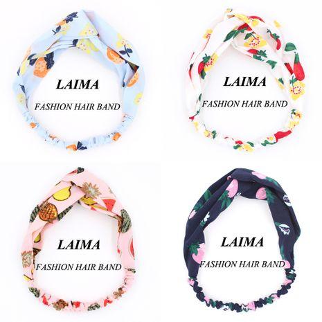 Diademas coreanas con pañuelo en la cabeza con estampado cruzado y estiramiento de fruta linda al por mayor NHCL250081's discount tags