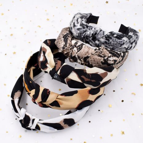 leopard print snakeskin fabric cross-knotted retro broad-brimmed headband wholesale NHCL250086's discount tags