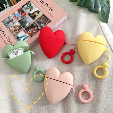 Korean three-dimensional love AirPods2 protective cover silicone bluetooth headset anti-fall case wholesale NHFI250163's discount tags