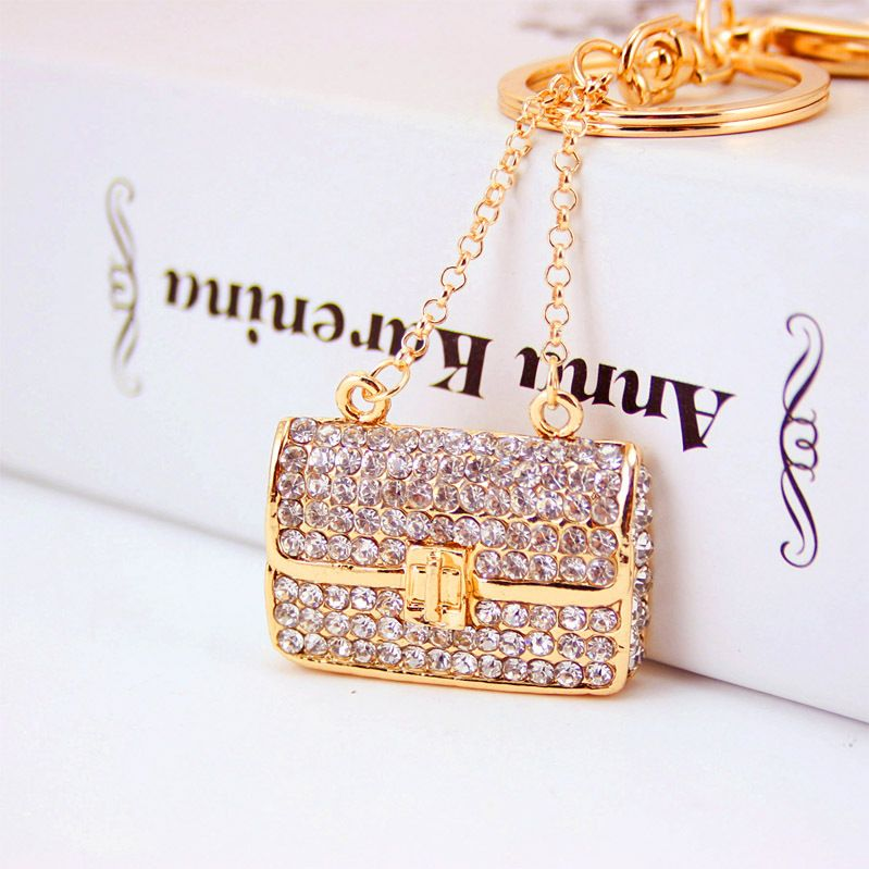 Korean creative diamond-studded ladies chain bag key chain metal pendant wholesale  NHAK250191