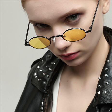 narrow side metal color retro glasses popular colorful red film art sunglasses wholesale  NHXU250276's discount tags