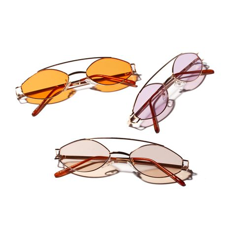 retro literary double beam stainless steel metal color UV lens oval sunglasses wholesale  NHXU250282's discount tags
