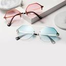 nouvelles lunettes corennes  lentille de couleur transparente en mtal diamant lunettes de soleil polygonales de protection UV en gros NHXU250287