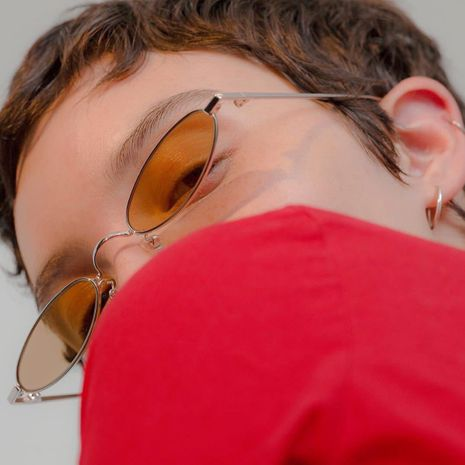 metal retro transparent color ocean piece small frame glasses wholesale  NHXU250288's discount tags