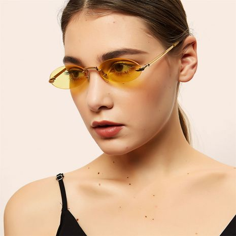 round frameless metal retro oval color ocean lens sunglasses wholesale  NHXU250290's discount tags