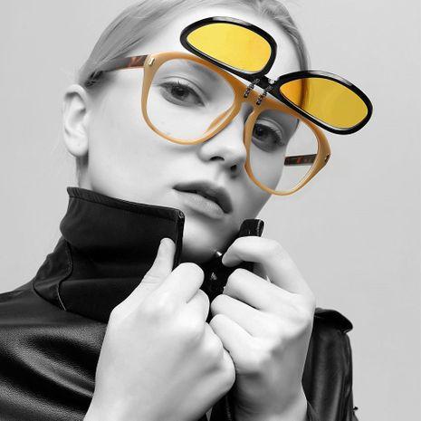 double flip retro big frame yellow transparent lens glasses wholesale  NHXU250292's discount tags