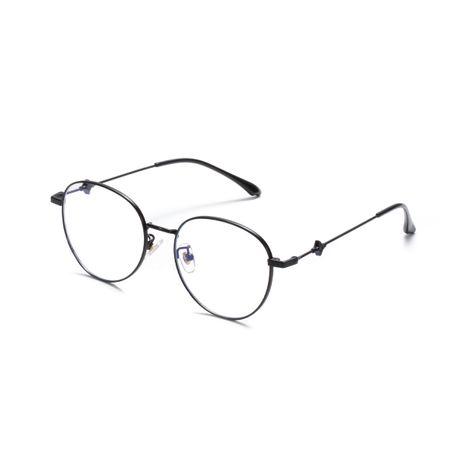 Gafas de montura coreana con espejo plano retro redondo de metal anti-azul claro al por mayor NHXU250307's discount tags