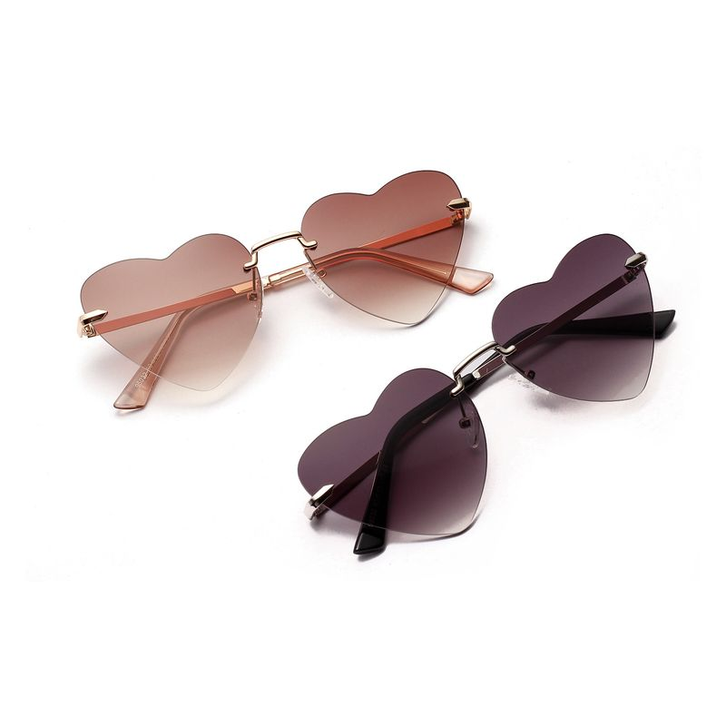frameless peach heart sunglasses retro party street love new heart-shaped sunglasses wholesale  NHXU250310