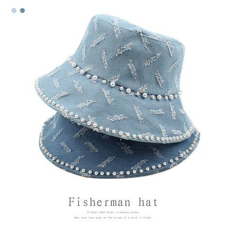 new  leisure  Korean retro wild cowboy hat street pearl fashion fisherman hat NHXO250322's discount tags