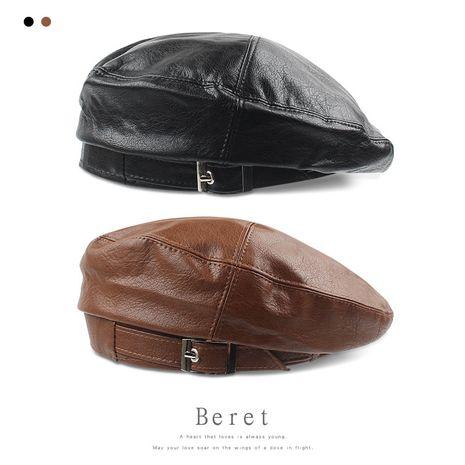 PU leather new  Korean casual wild fashion black beret NHXO250325's discount tags