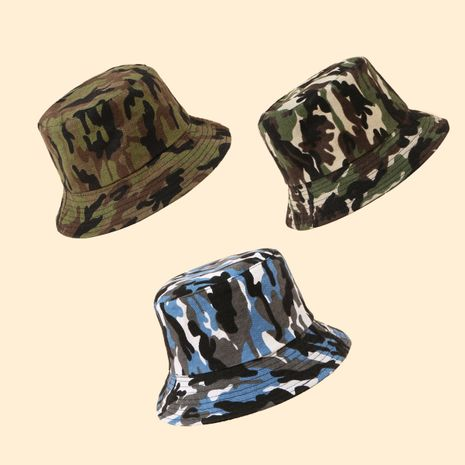 Camouflage pattern fisherman hat double-sided shade basin hat wholesale nihaojewelry  NHTQ250330's discount tags