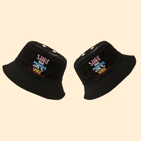 Korean smiling face fisherman hat fashion sun hat wide brim hat wholesale NHTQ250332's discount tags