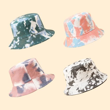 Fisherman hat sunscreen sunscreen tie-dye big brim hat Korean fashion wild basin hat color hat travel hat NHTQ250335's discount tags