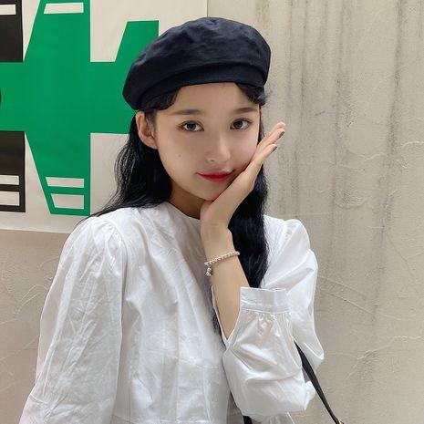 Korean fashion beret autumn solid color men and women retro British painter hat octagonal hat NHTQ250337's discount tags